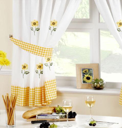Kitchen Curtains Sunflower Includes Tie Backs