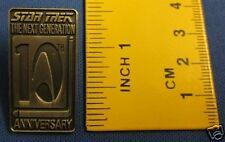 Star Trek Next Generation 10th Anniversary Pewter Effect Pin Badge 10Y1