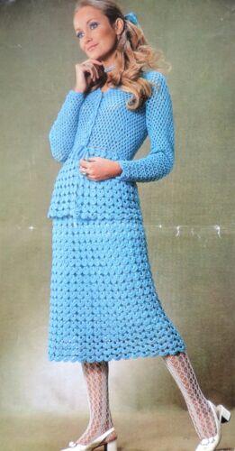 """Señoras falda traje de encaje 70s patrón de ganchillo fotocopia Falda Midi /& Top 34-42/"""""""