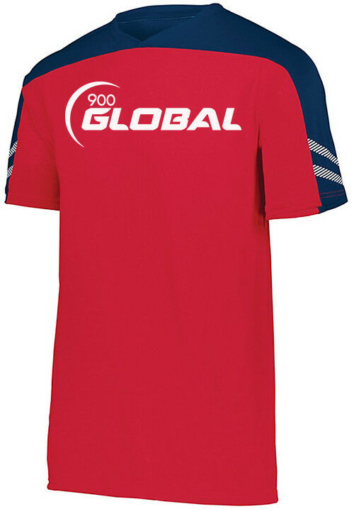 900 Global Men's Moxie Performance Crew Bowling Shirt Dri-Fit Red Navy White