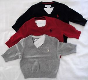 73db5b14333a NWT Ralph Lauren Infant Boys Cotton V-neck Sweater Sz 3m 6m 9m 12m ...
