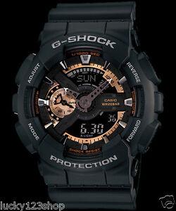 381107d92841 GA-110RG-1A Black Rose Gold Casio Watches G-Shock 200M Analog ...