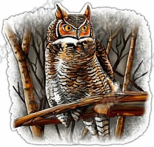 Owl Perched Wildlife Bird Night Animal Wild Car Bumper Vinyl Sticker Decal 4.6""