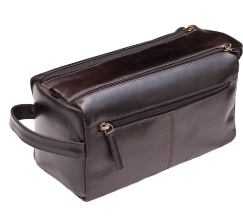 NEW Prime Hide Mens Dark Brown Leather Wash Bag Toiletry Bag Travel Pouch