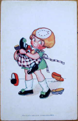 1930 M. VanasekArtistSigned French Children Postcard GirlSkirt Full of Shoes