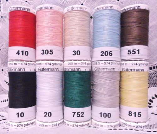 10 NEW 274 yd Spools Different colors GUTERMANN 100% polyester sewall thread