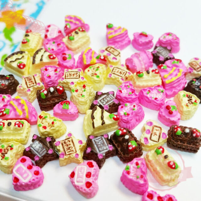 10 pcs Tiny Miniature Sweets Deco Cabochon Mix Assorted Resin 3D Cake