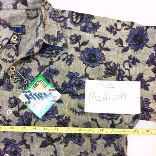 Attrak Men/'s Long Sleeve Shirt Size S M L XL Button Front Blue Gray Cotton NEW