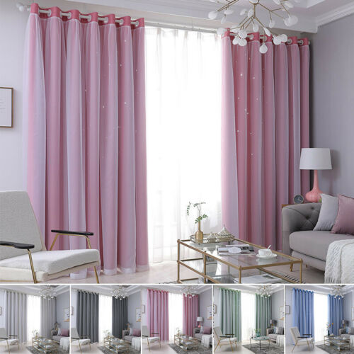 Double Layer Curtains Blackout Floor Starry Stars Curtain Kids Bedroom Decor