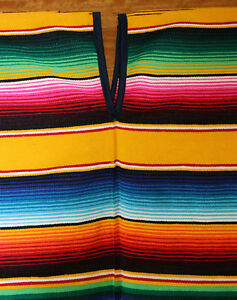 Authentic-Mexican-Poncho-Striped-Gold-Blanket-Party-One-Size-Fits-All