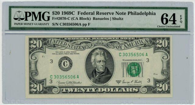 Fr. 2070-C $20 1969C Federal Reserve Note Philadelphia #DC-2425 64 EPQ PMG
