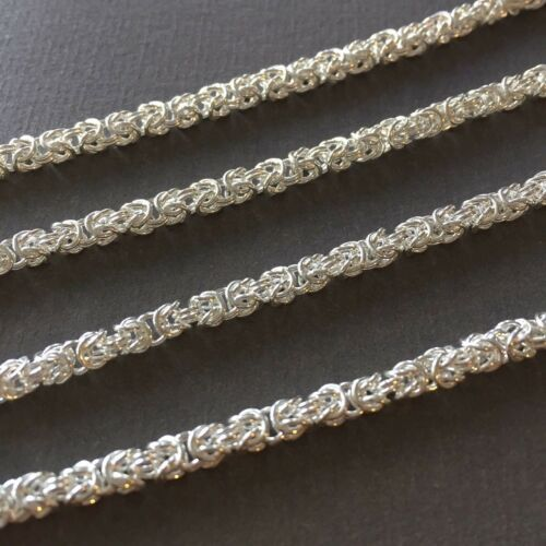 Mens 3.5mm 26GR 925 Sterling Silver Byzantine Chunky Link Chain Necklaces 26Inch