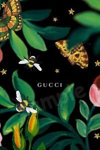 Gucci-Floral-Essbar-Tortendeko-Tortenaufleger-Party-Deko-Tortenbild-Muffin-Bienen