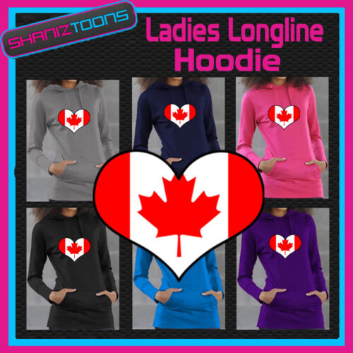CANADA CANADIAN FLAG LOVE HEART LADIES LONGLINE HOODIE HOODY