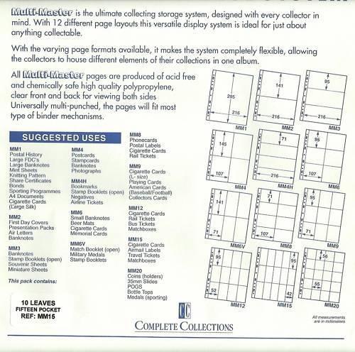 MULTIMASTER SYSTEM 3 Pocket Safe /& Acid Free BANKNOTE PAGES Pack 10