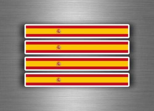 4x Autocollant sticker voiture moto stripes drapeau tuning espagne