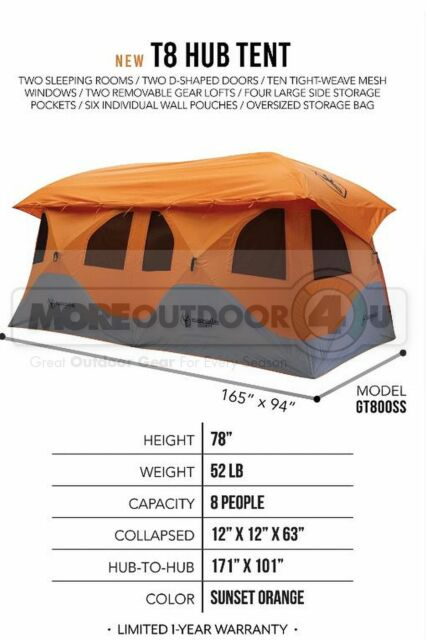 GT800SS THE NEW HUGE GAZELLE T8 HUB TENT 2 ROOM CAMPING FAMILY FUN CABIN