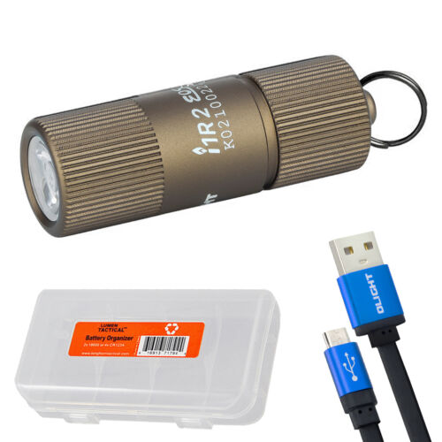 Olight I1R 2 EOS Tan 150 Lumen Mini USB Rechargeable Keychain Flashlight
