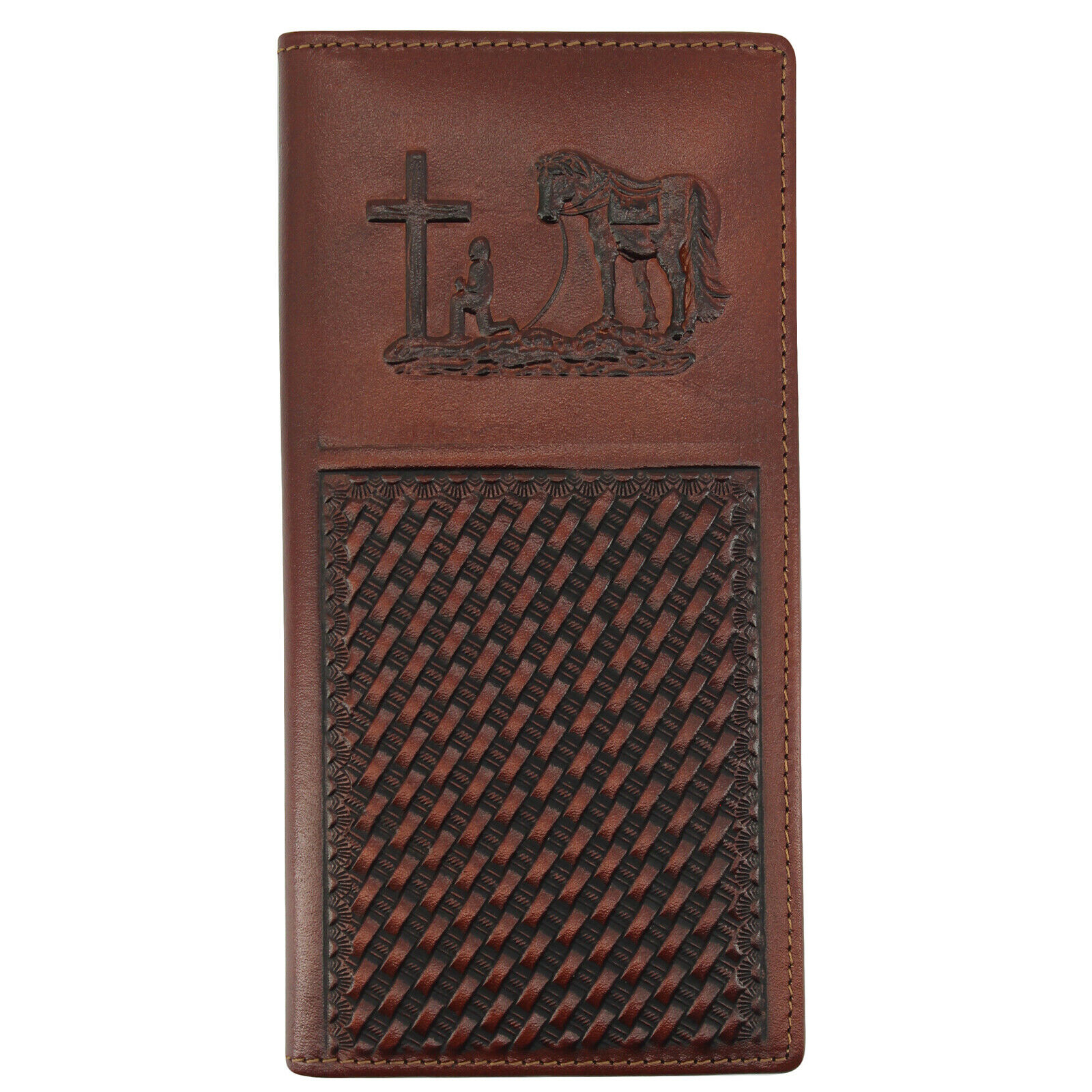 LXFF Men/'s Genuine Leather Long Bifold Wallet With ID Window Vintage Skull New