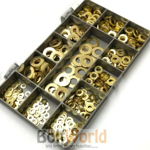 Assortiment de 465 pièces en laiton massif métrique plate forme un Rondelles M3 M4 M5 M6 M8 Kit