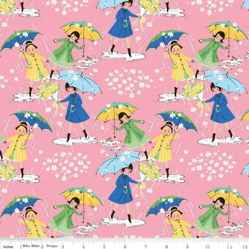 Riley Blake Mae Flowers Umbrella Pink Fabric FQ Half Metre or More 100/% Cotton