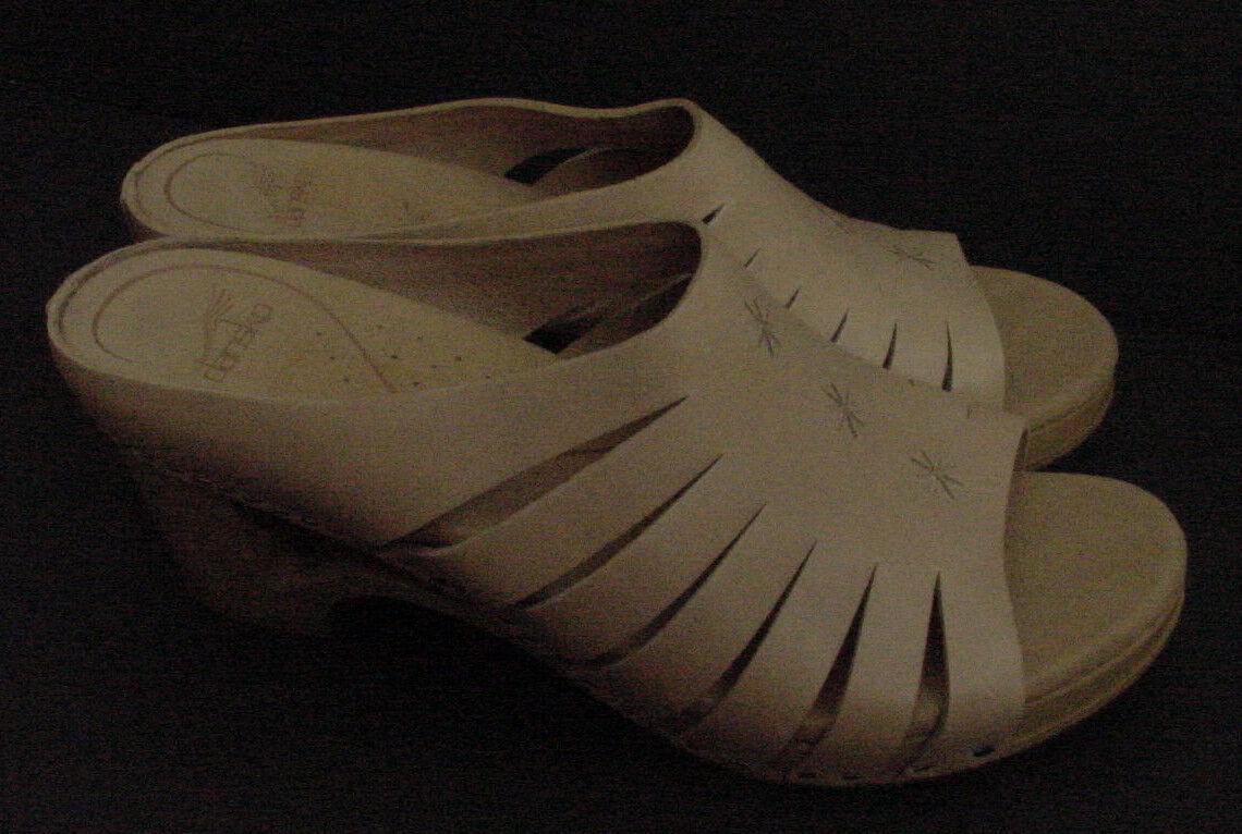 New Dansko Sandal Open Toe Leather Clog Mule shoes Nude Brn Tan Women Sz 42