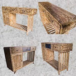 teakholz kommode kabinett sideboard schrank schreibtisch tisch flur vintage chic. Black Bedroom Furniture Sets. Home Design Ideas