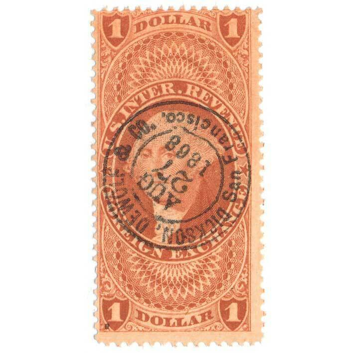 1862-71 U.S. Revenue R68c $1 Foreign Exchange, Dickson