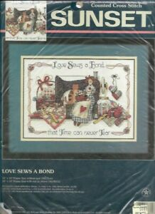 Love-Sews-a-Bond-Sunset-Counted-Cross-Stitch-Kit-13624-Sealed-New-Old-Stock