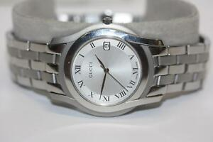 85e0cf99808 Image is loading Gucci-5500M-Series-Stainless-Steel-Silver-Date-Dial-