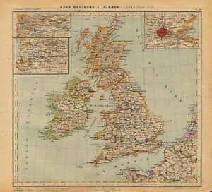Gran Bretagna Cartina Geografica Politica.Carta Geografica Antica Gran Bretagna Irlanda Paravia 1941 Antique Map Ebay