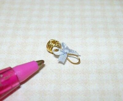 #1 Miniature 14kt Gold Ribbed Bead Baby Rattle w//Blue Silk Bow DOLLHOUSE 1:12