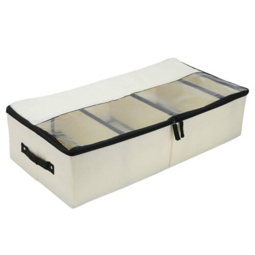 1//2PCS  Canvas Under Bed Storage Bag Box Compartments Clothes Shoes Organizer