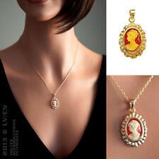 PENDENTIF Femme Camée ORANGE en Plaqué Or 18 carats NEUF - BEAUX BIJOUX