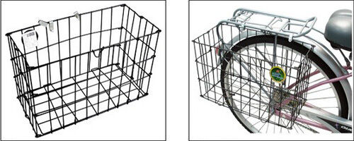 Firm Grocery Commuter Side Mount Wire Black Folding Rear Basket For Bike Bicycle