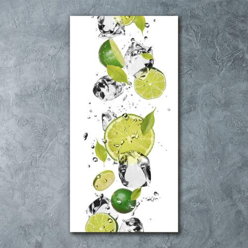 Wandbild Druck auf Plexiglas® Acryl Hochformat 60x120 Limette und Wasser