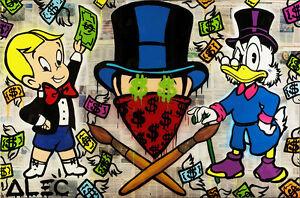 "Alec Monopoly Oil Painting on Canvas Urban art Wall Decor Phillip Plein 28x48"""