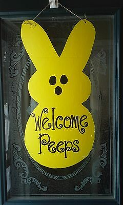 Peep Wreath sign Wall Decor Door hanger Painted Sign