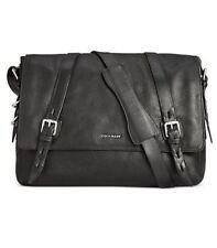 Cole Haan Mens Pebbled Leather Messenger Bag, Black