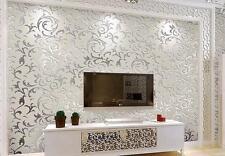 European Glitter Grey Silver Wallpaper For Walls 3D Bedroom Luxury Decor