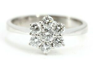 Diamant-Goldring-750-18K-ca-0-59ct-VS1-H-7-Brillanten-Gr-53-18K-Weissgold-Ring