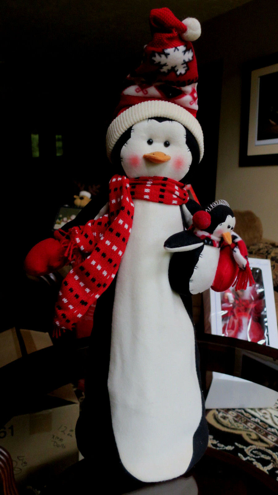 "Large Penguin Stuffed over a frame Animal  Scarf 32"" Tall"