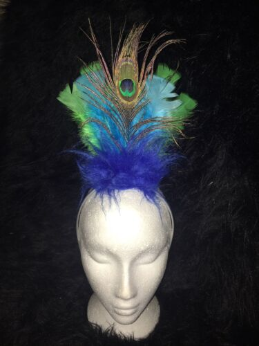 PEACOCK Fancy Dress Headress Feather Hairband Costume GREEN//BLUE KEVIN UP BIRD