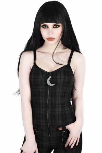 Killstar Darklands Tartan Moon Gothic Punk Witchy Zip Tank Top Shirt KSRA001154