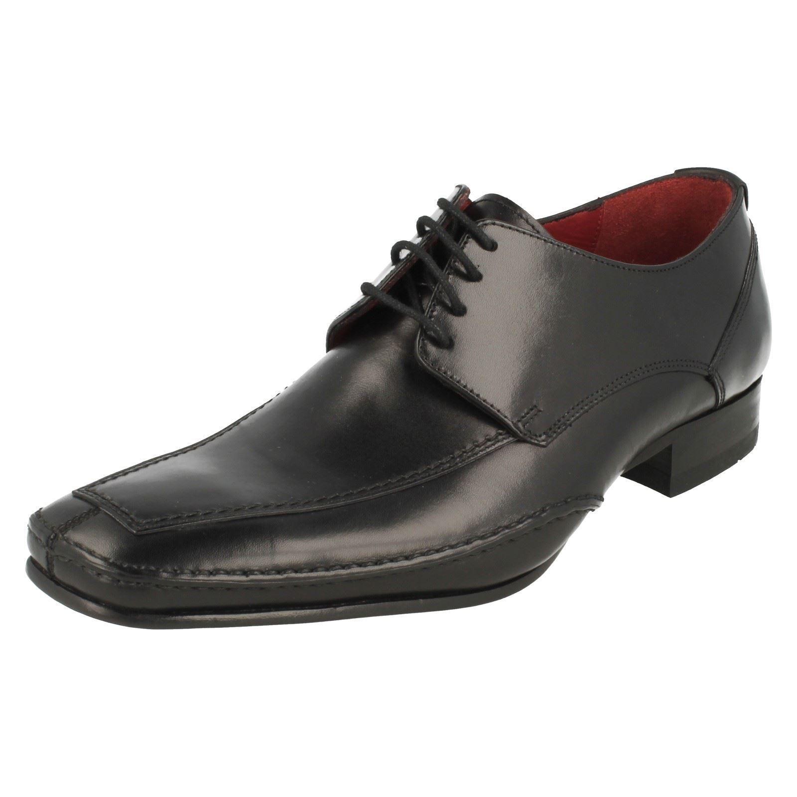 Loake Hurst Caballeros Smart pies cuadrados de Cuero Negro De Encaje Zapatos