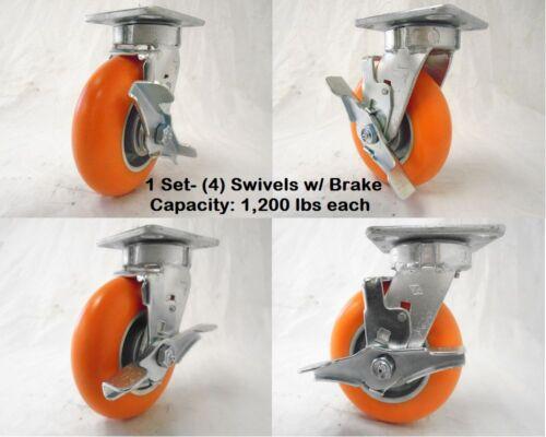 "4 6/"" x 2/"" Kingpinless Swivel Caster w// Brake  apex Polyurethane Wheel Tool Box"