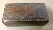 A 19th C. BELGIAN TOOLED LEATHER STAMP BOX / COUPLET FRERES BRUXELLES
