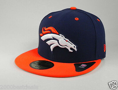NEW ERA 59FIFTY CAP DENVER BRONCOS NFL 2 TONE NAVY ORANGE CUSTOM FITTED 5950 HAT