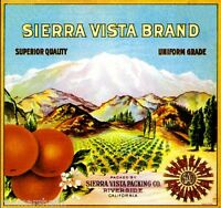 Riverside Sierra Vista 2 Scenic Orange Citrus Fruit Crate Label Art Print