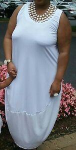 Ashley Stewart Plus Size 22/24 White Sleeveless Gathered Side Maxi ...